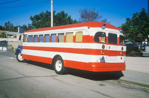 Stock Photo: 1599R-20553 Bus Painted Like American Flag, Glendale, California