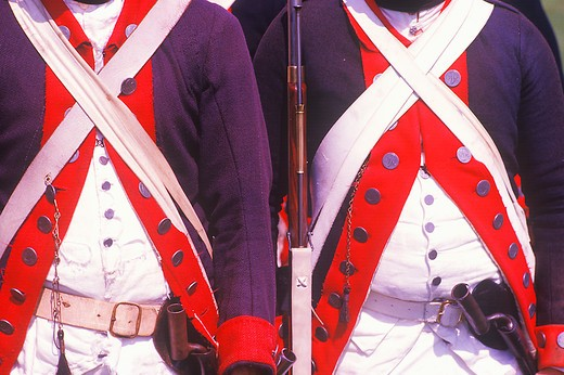 Stock Photo: 1599R-20686 Historical Reenactment, Daniel Boone Homestead, Brigade of American Revolution, Continental Army Infantry
