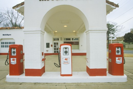 Historical Mobil Oil Gas Station at Little Rock Arkansas Central High School, scene of Civil Rights protests in 1950's : Stock Photo