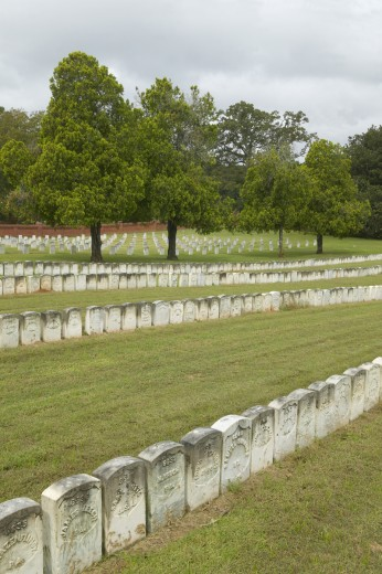 National Park Andersonville or Camp Sumter, a National Historic Site in Georgia, site of Confederate Civil War prison and cemetery tombstones for Yankee Union prisoners : Stock Photo