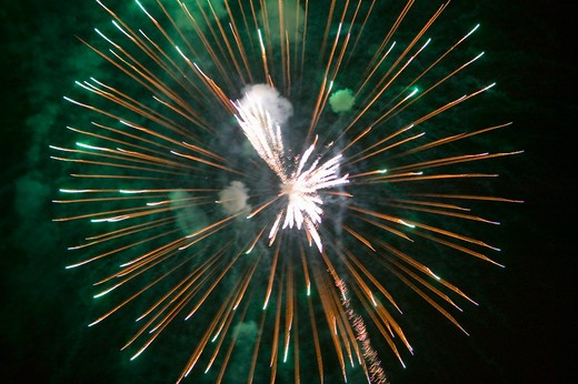 Stock Photo: 1599R-21513 Fourth of July celebration with fireworks exploding, Independence Day, Ojai, California