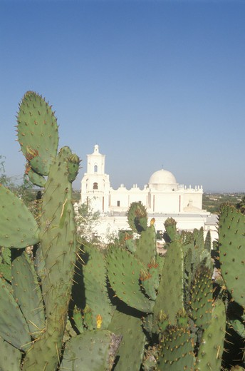 The Mission San Xavier Del Bac was erected between 1783 and 1897 in Tucson Arizona : Stock Photo