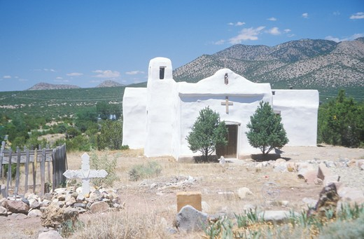 Stock Photo: 1599R-21558 Old pueblo church located along Route 14 on the way to Madrid New Mexico