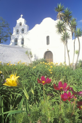 Stock Photo: 1599R-21636 The Mission Basilica in San Diego California