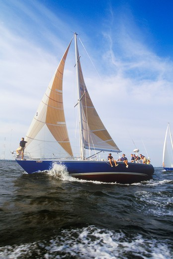 Stock Photo: 1599R-21705 Midshipmen from the U.S. Naval Academy practice sailing skills in Chesapeake Bay, near Annapolis, Maryland