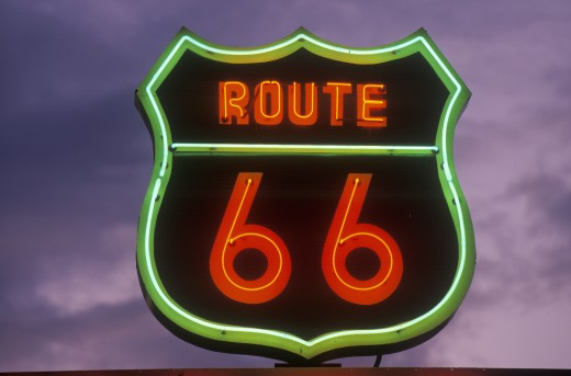Stock Photo: 1599R-21721 A neon sign reading Route 66 in Barstow, California