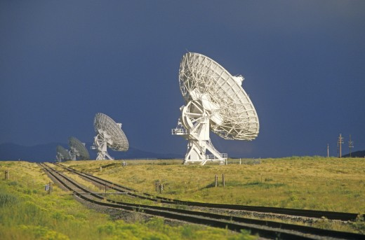 Radio telescope dishes at National Radio Astronomy Observatory in Socorro, NM : Stock Photo