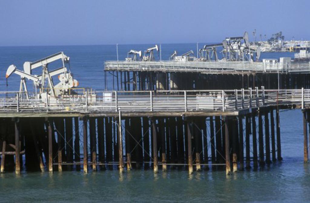 Stock Photo: 1599R-22188 Offshore oil drilling near Santa Barbara, CA