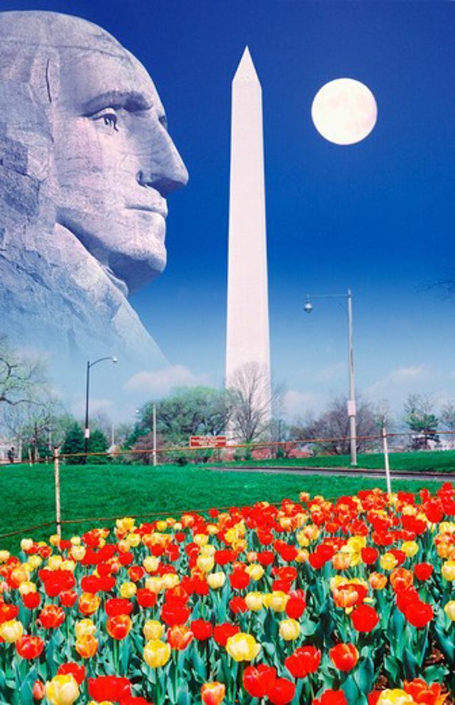 Composite image of Washington Monument, full moon, and profile of George Washington : Stock Photo