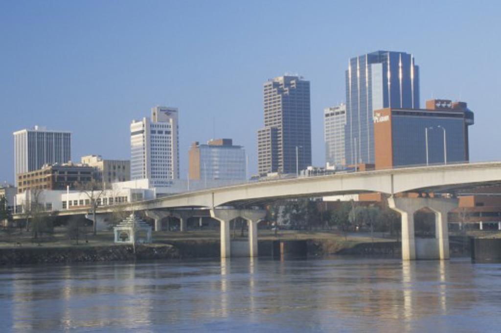 Stock Photo: 1599R-23439 Arkansas River and skyline in Little Rock, Arkansas