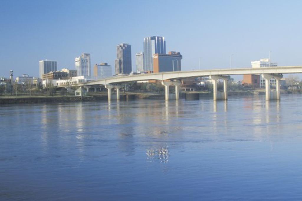 Stock Photo: 1599R-23441 Arkansas River and skyline in Little Rock, Arkansas