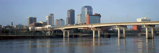 Stock Photo: 1599R-23442 Panoramic view of Arkansas River and skyline in Little Rock, Arkansas