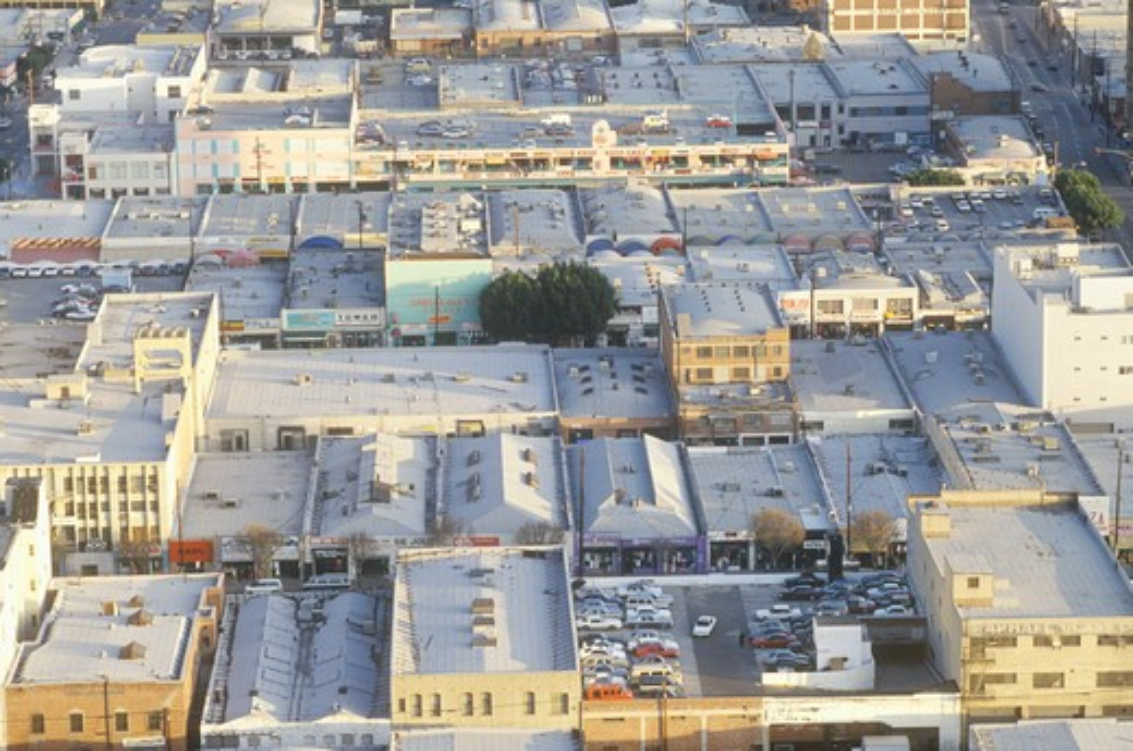 Stock Photo: 1599R-23532 Old Los Angeles skyline, Los Angeles, California