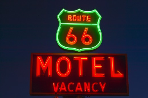 Stock Photo: 1599R-23727 Route 66 neon sign in Barstow California