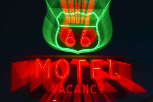 Route 66 neon sign in Barstow California : Stock Photo
