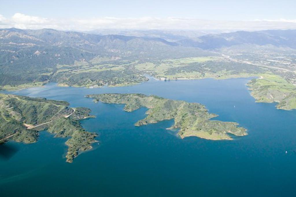 Aerial view of lake island within Lake Casitas in spring in Ventura County, Ojai, California : Stock Photo