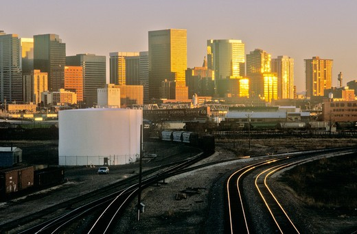 Stock Photo: 1599R-23860 ?Mile High City? at sunset, Denver, Colorado
