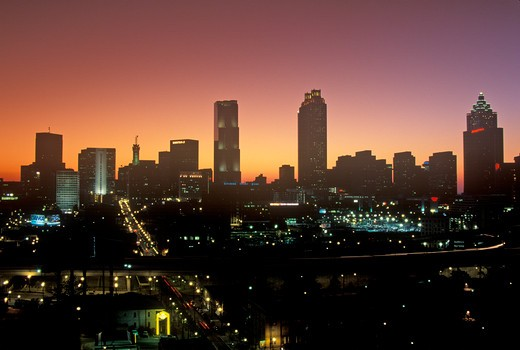 Stock Photo: 1599R-24140 Skyline view at sunset of the state capital of Atlanta, Georgia