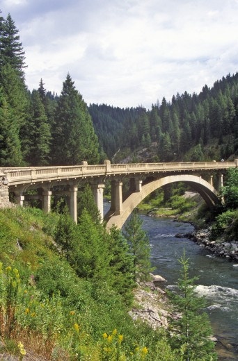 Road Bridge Over the Payette River, Idaho : Stock Photo
