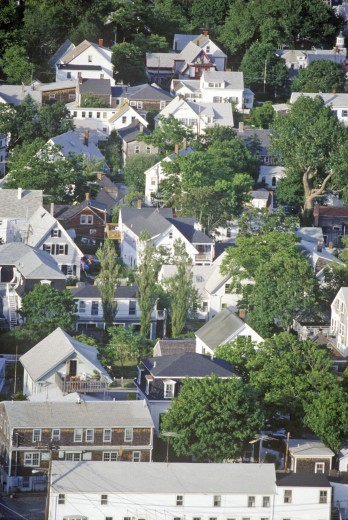 Stock Photo: 1599R-24487 Aerial View of Provincetown, Massachusetts