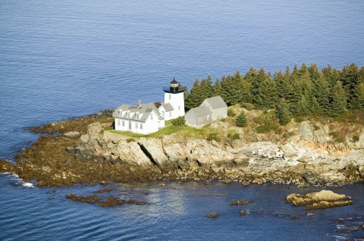 Aerial view of Indian Island Lighthouse in Rockport, Maine : Stock Photo