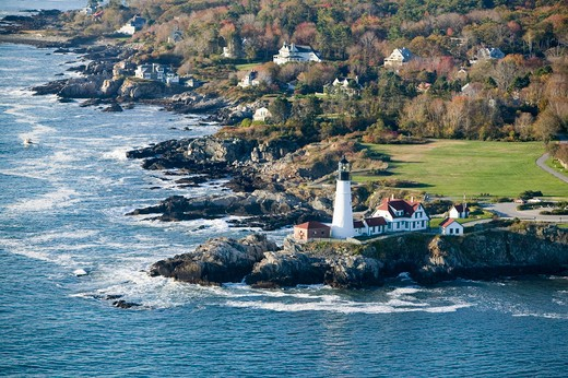 Aerial view of Portland Head Lighthouse, Cape Elizabeth, Maine : Stock Photo