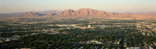 Panoramic view of Las Vegas Nevada Gambling City at sunset : Stock Photo