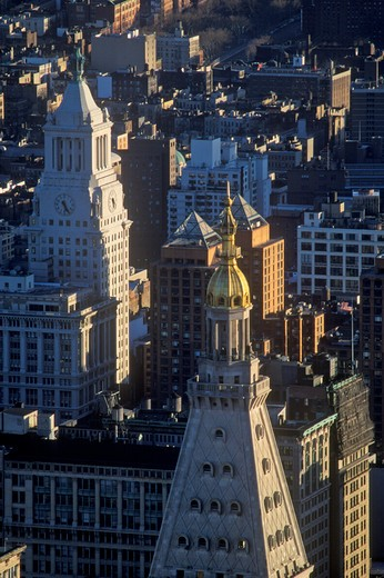 Stock Photo: 1599R-25298 View over building tops at night, New York City, NY