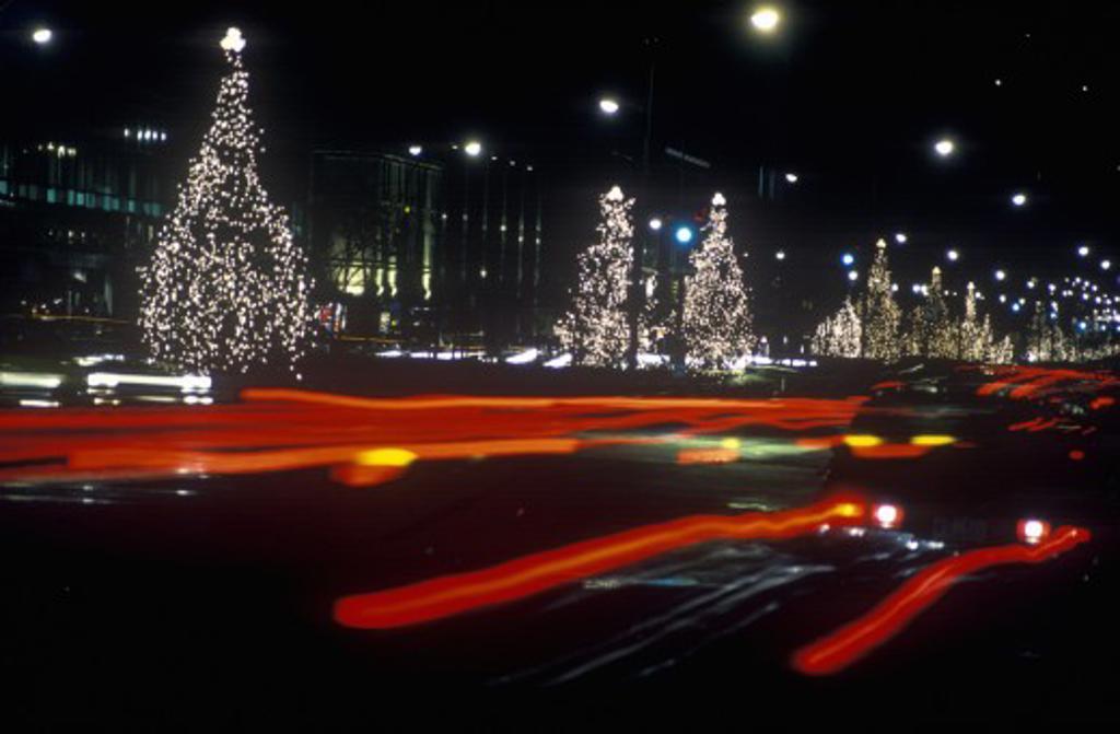 Holiday Decorations at night, New York City, NY : Stock Photo
