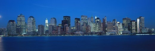 Panoramic view of Lower Manhattan and Hudson River at dusk, where World Trade Towers were located, NY : Stock Photo