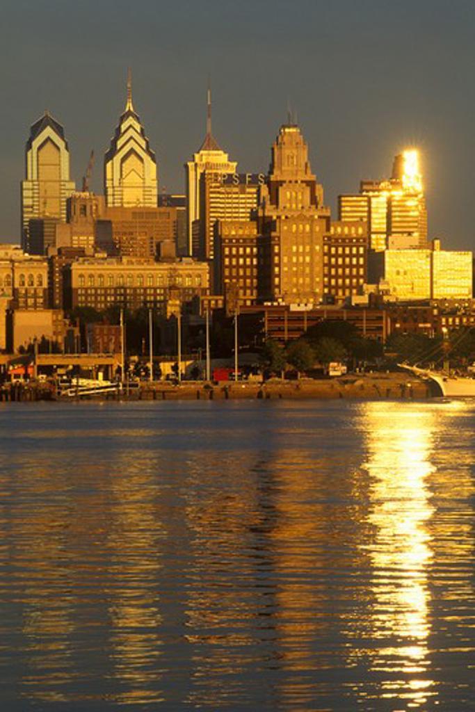Sunrise over Philadelphia from the Delaware River, PA : Stock Photo