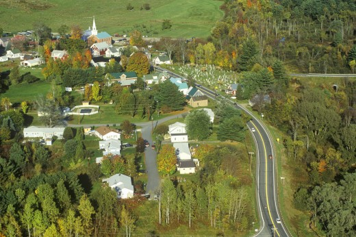 Stock Photo: 1599R-25746 Aerial view of Hyde Park, VT on Scenic Route 100 in Autumn