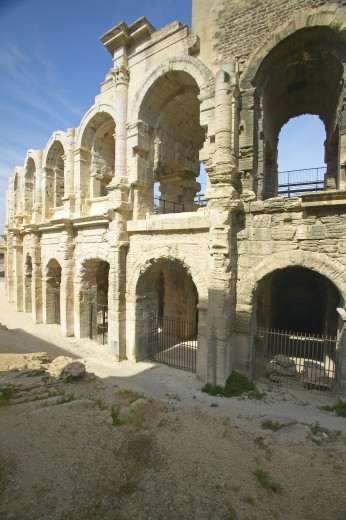 Stock Photo: 1599R-27838 Exterior of the Arena of Arles, from ancient Roman times, can hold 24,000 spectators, Arles, France