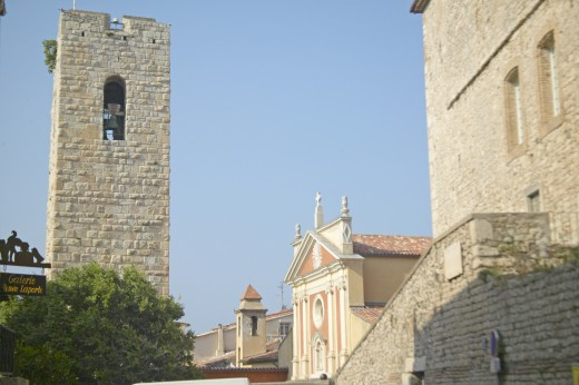 Stock Photo: 1599R-28027 12th century Bell-Tower and church, Antibes, France