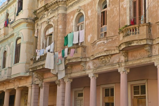 Stock Photo: 1599R-28173 Old buildings with laundry in Old Havana, Cuba