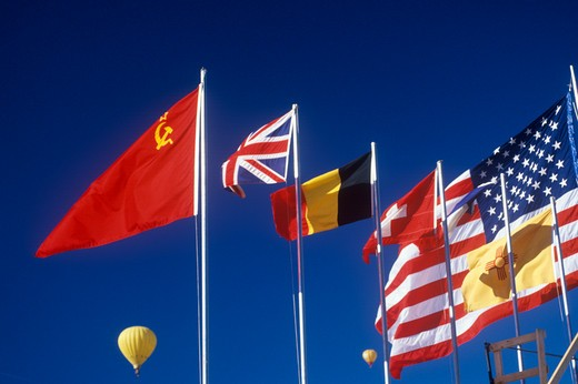 Global flags flying at the Albuquerque, NM Balloon Fiesta : Stock Photo