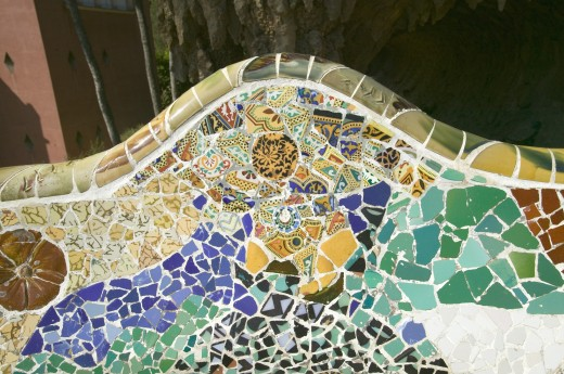 Stock Photo: 1599R-29056 Closeup of mosaic of colored ceramic tile by Antoni Gaudi at his Parc Guell, Barcelona, Spain