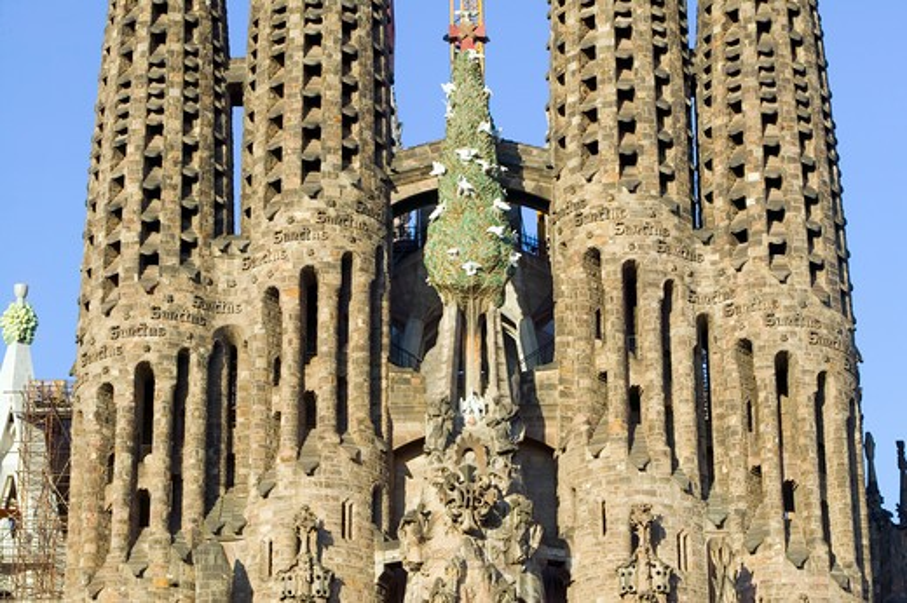 Antoni Gaudi's Sagrada Familia or the Temple Expiatori de la Sagrada Familia was begun in 1882, Barcelona, Spain : Stock Photo