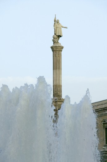 Water fountain and statue of Christopher Columbus at Plaza de Colón in Madrid, Spain : Stock Photo
