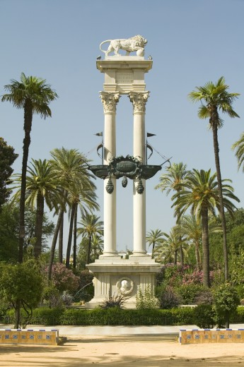 Columbus' monument - Monumento a Colón, a tribute to Christopher Columbus the Discover of the New World, commissioned in 1911 by King Alfonso XIII in Sevilla, Spain : Stock Photo
