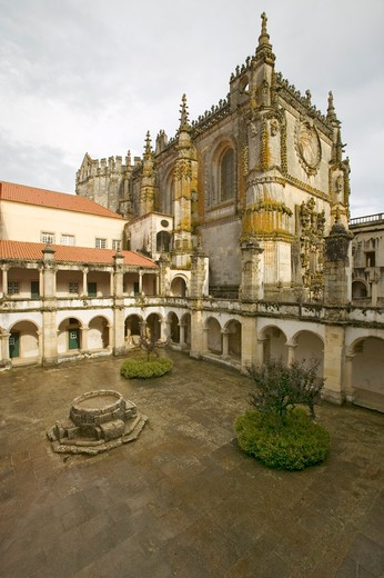 Stock Photo: 1599R-29270 Exterior view of Chapter House, Templar Castle and the Convent of the Knights of Christ, founded by Gualdim Pais in 1160 AD, is a Unesco World Heritage Site in Tomar, Portugal