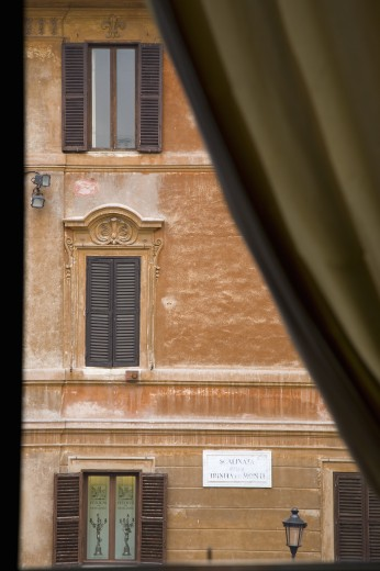 Windows seen from Keats-Shelley House, Rome, Europe, overlooking the Spanish Steps : Stock Photo
