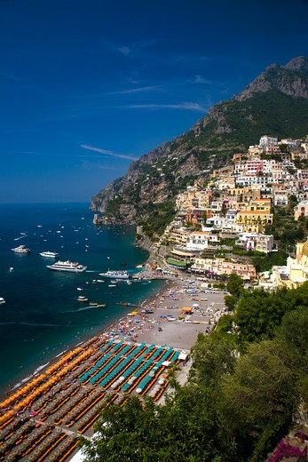 Stock Photo: 1599R-29451 Elevated view of beach umbrellas of Amalfi, a town in the province of Salerno, in the region of Campania, Italy, on the Gulf of Salerno, 24 miles southeast of Naples