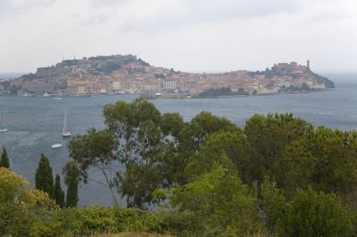 Stock Photo: 1599R-29467 Water view of Portoferraio, Province of Livorno, on the island of Elba in the Tuscan Archipelago of Italy, Europe, where Napoleon Bonaparte was exiled in 1814