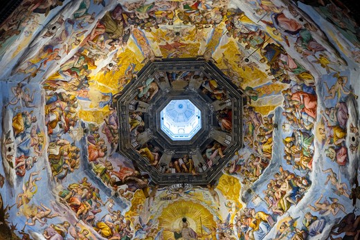 Stock Photo: 1599R-29500 Interior view of Last Judgment Fresco Cycle in dome of Cathedral of Santa Maria del Fiore, The Duomo, Florence, Italy, Europe