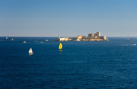 Stock Photo: 1599R-29545 Chateau d'If in Marseille Bay, Marseille, Provence, France on the Mediterranean Sea