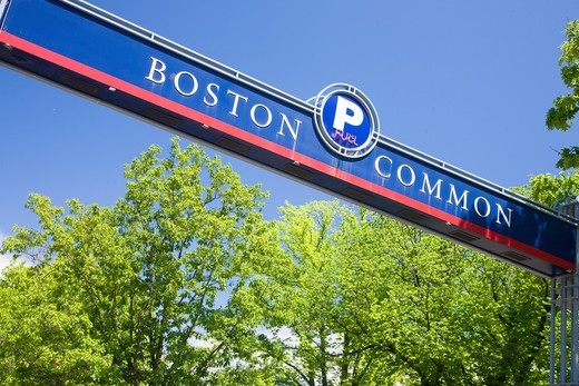 Stock Photo: 1599R-31677 Boston Common' street sign, Boston, Ma., New England, USA