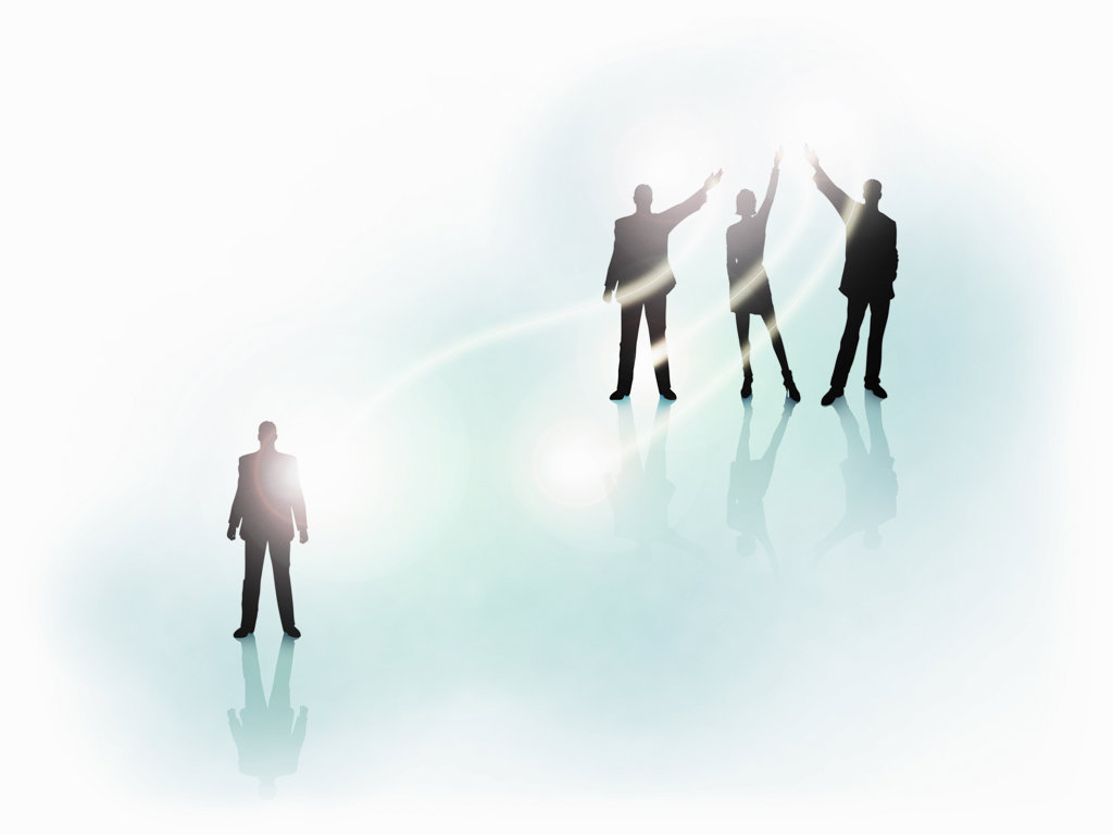 Stock Photo: 160-1823 Silhouette of business people in light