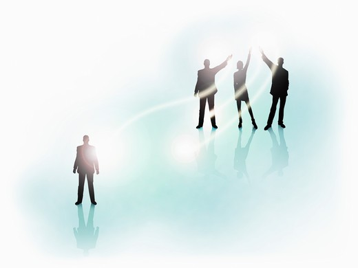 Silhouette of business people in light : Stock Photo