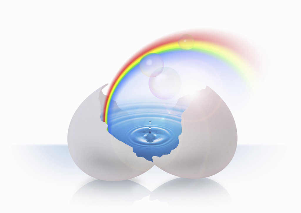 Stock Photo: 160-1857 Egg containing rainbow and water, digitally generated image